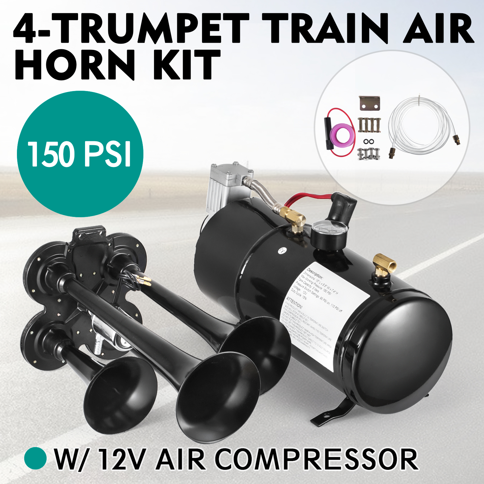 Details about 4-Trumpet 150 psi Air System 150dB+ Metal 12V Train Air Horn  Kit for car truck