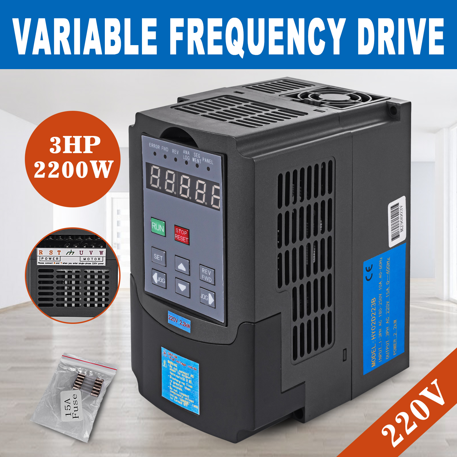 Details about 2 2KW 3HP VFD 10A 220V SINGLE PHASE SPEED VARIABLE FREQUENCY  DRIVE INVERTER