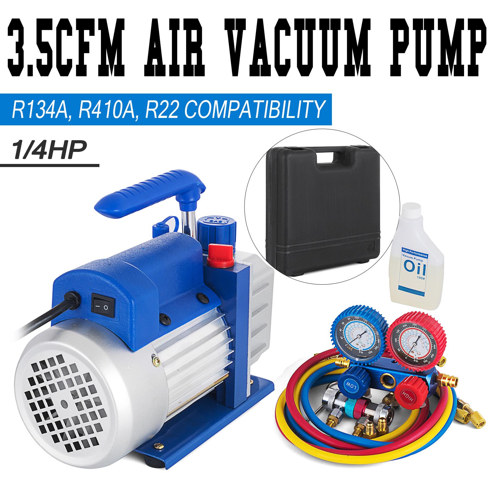 Details about Combo 3,5CFM 1/4HP Air Vacuum Pump HVAC + R134A Kit AC A/C  Manifold Gauge Set