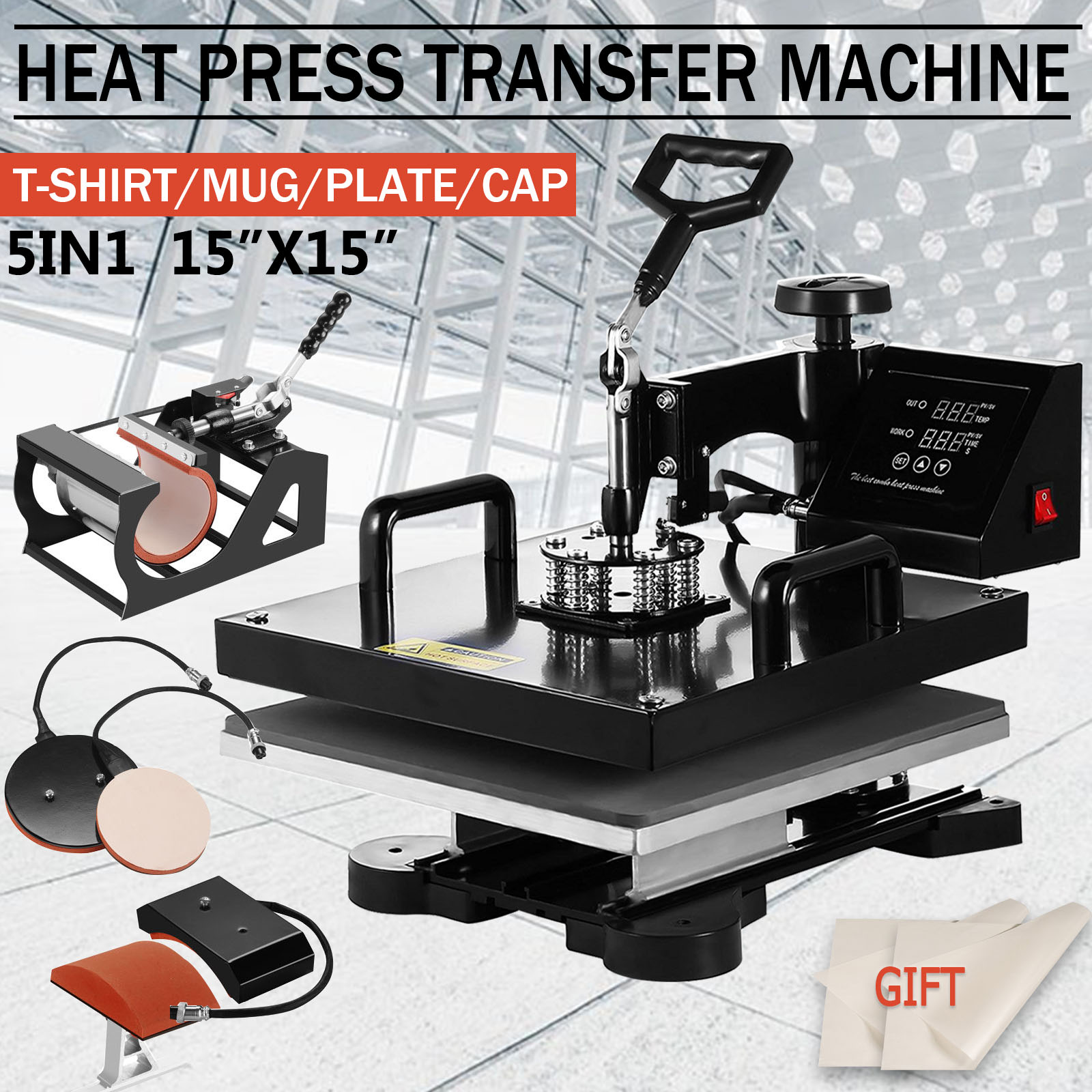 Tshirt Press Machine Presser for T-Shirts Mug Hat//Cap Plate 12X15 Heat Press Professional Digital Transfer Sublimation 5 in1 Heat Press Machine