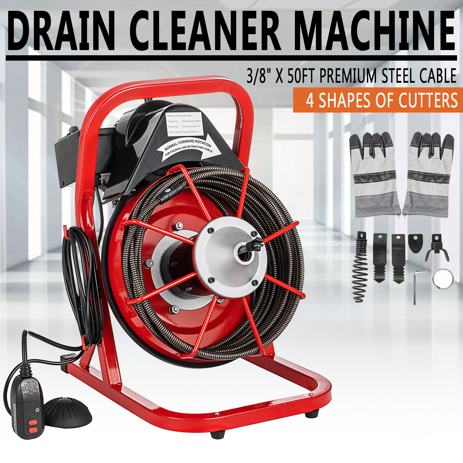 """75/' x 3//8/"""" Drain Cleaner Machine Commercial Sewer Snake Plumbing Machine GREAT"""