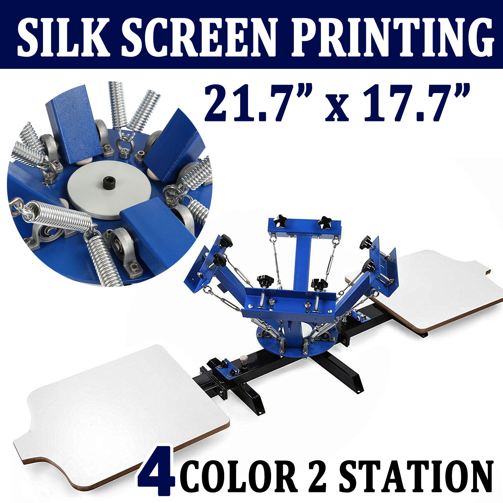 6545f7e3 Details about 4 Color 2 Station Silk Screen Printing Machine Press  Equipment T-Shirt DIY