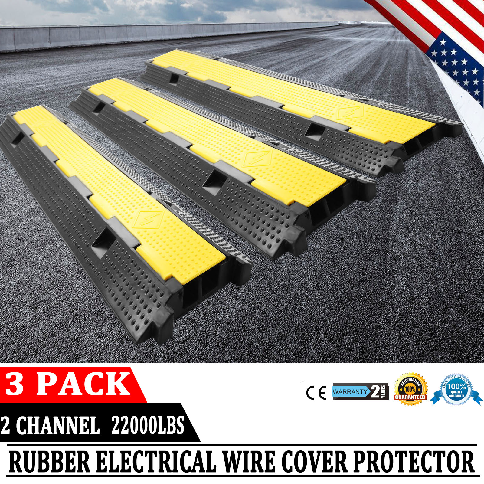 3pcs 2-Cable Rubber Warehouse Vehicle Wire Covers Ramp Protector ...