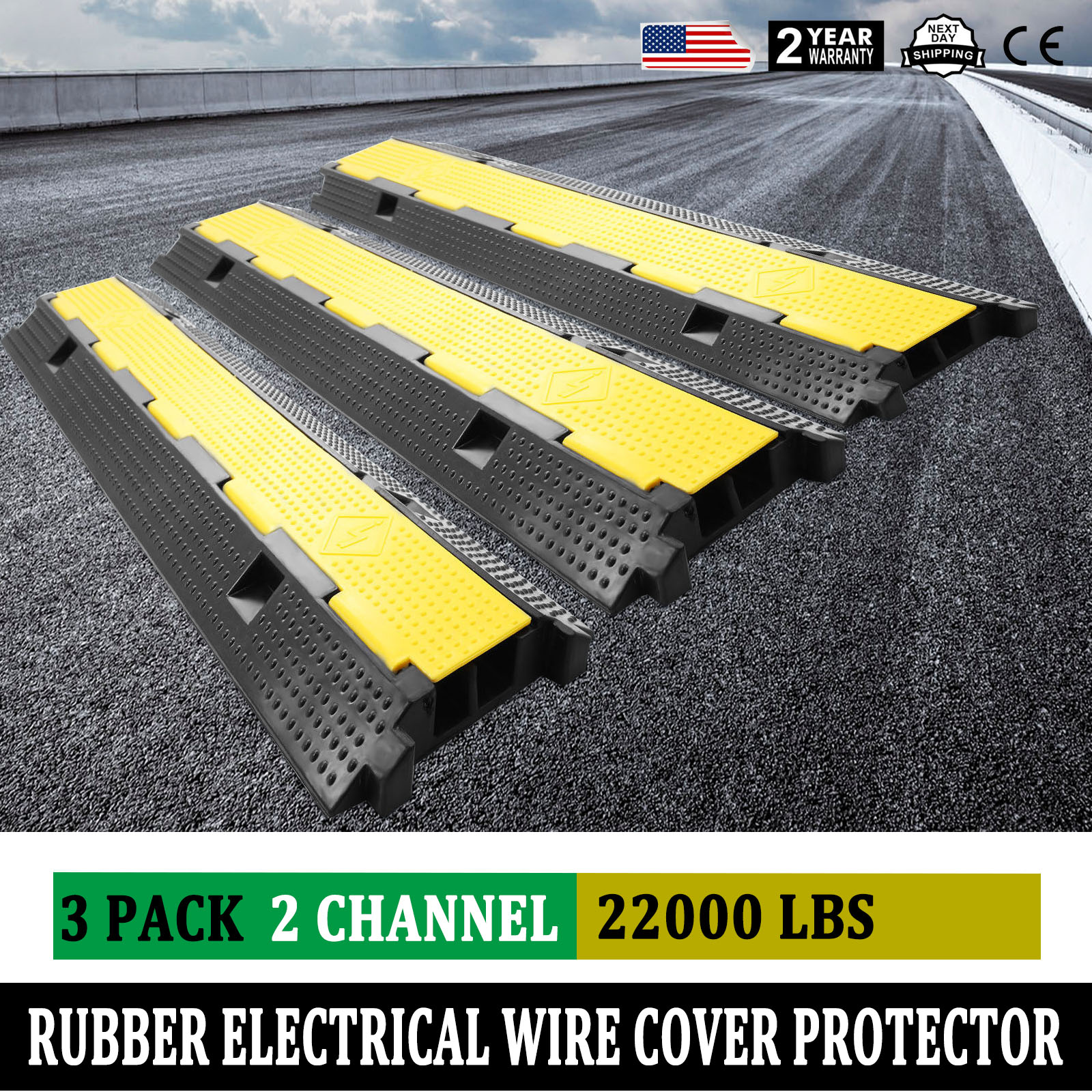 3pcs 2-Channel Rubber Electrical Wire Cover Protector Ramp Snake ...