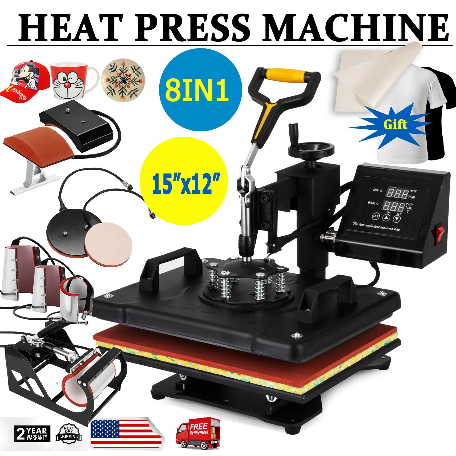 Hat Cap 8 in 1 Heat Press Machine Transfer Sublimation T-Shirt Plate Mug