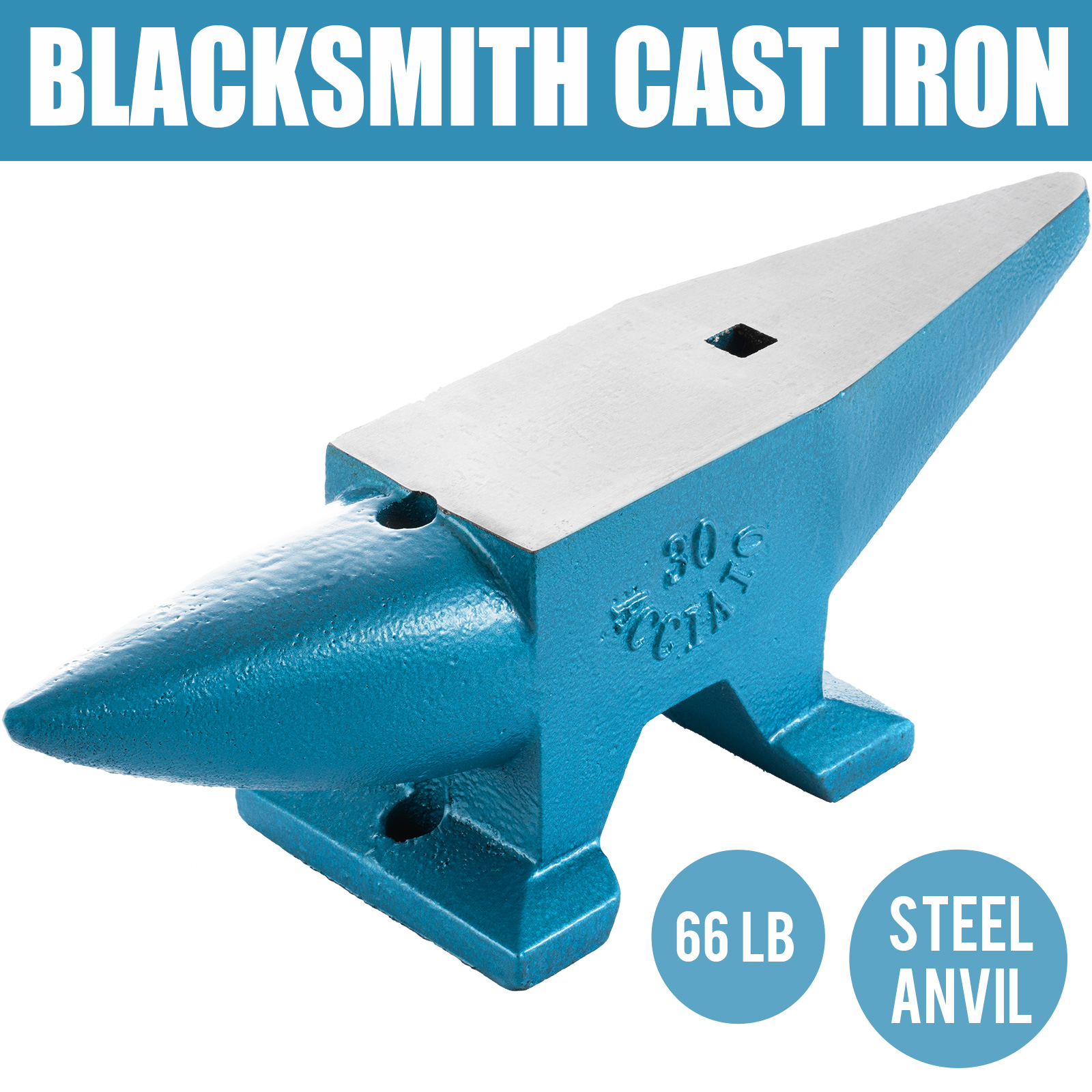 66 LB Blacksmith Anvil Steel Anvil 30kg Solid Heat Treated Round Horn Metal Work