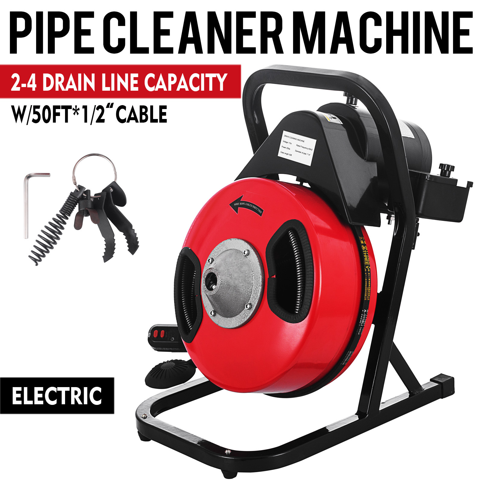Electric Drain Auger Drain Cleaner Machine 50ft X 1 2