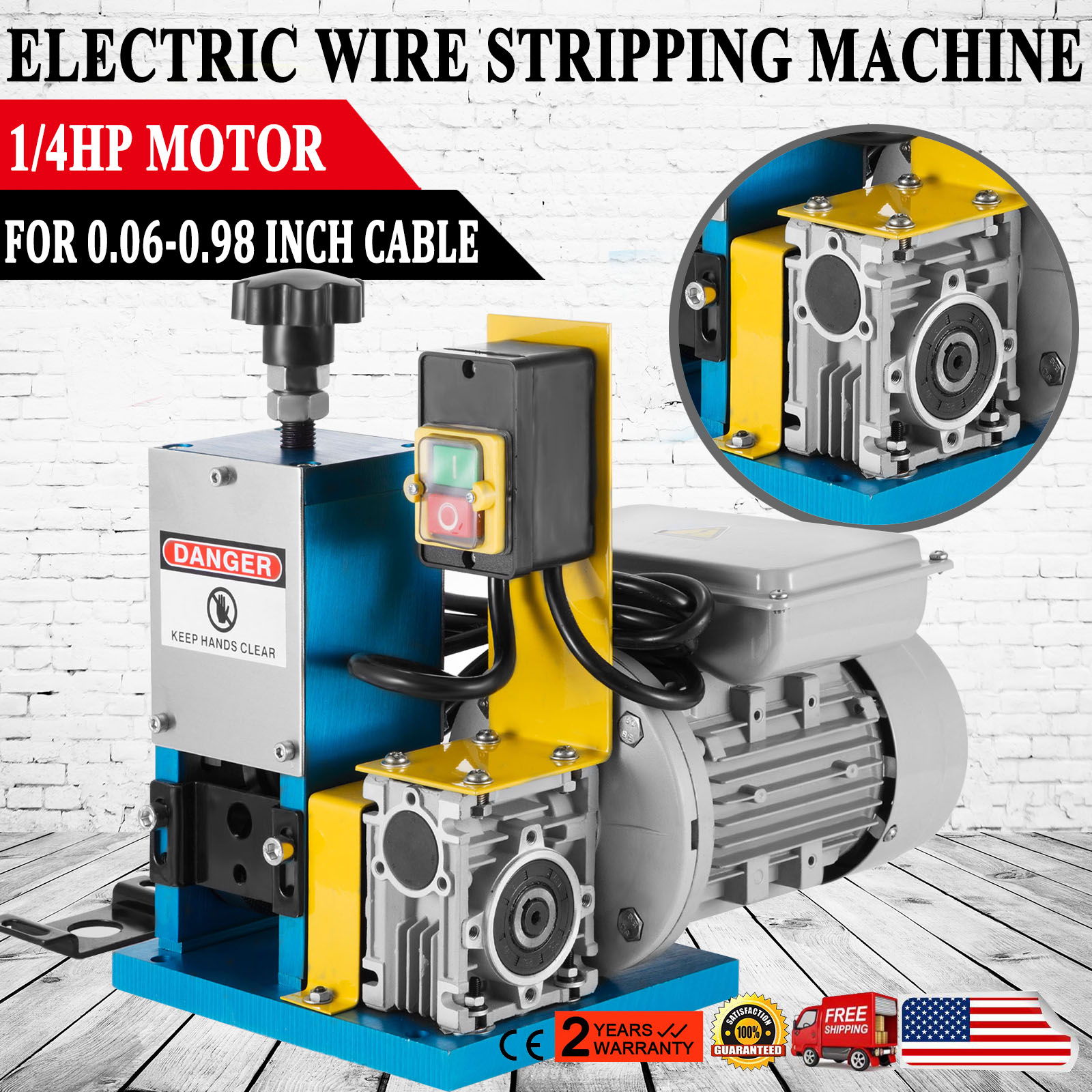 1//4HP Electric// Manual Wire Stripping Machine Portable Comercial Cable Stripper