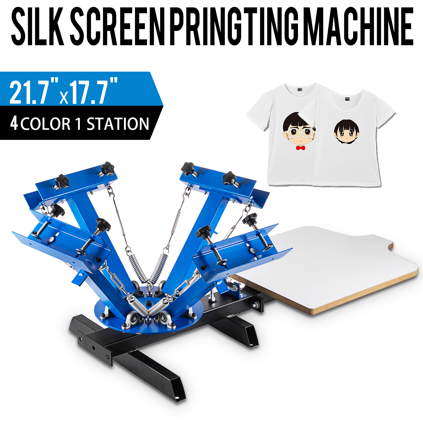 4 Farbe Siebdruck Druckmaschine 1 Station Presse Drucker DIY Shirt Ausrüstung