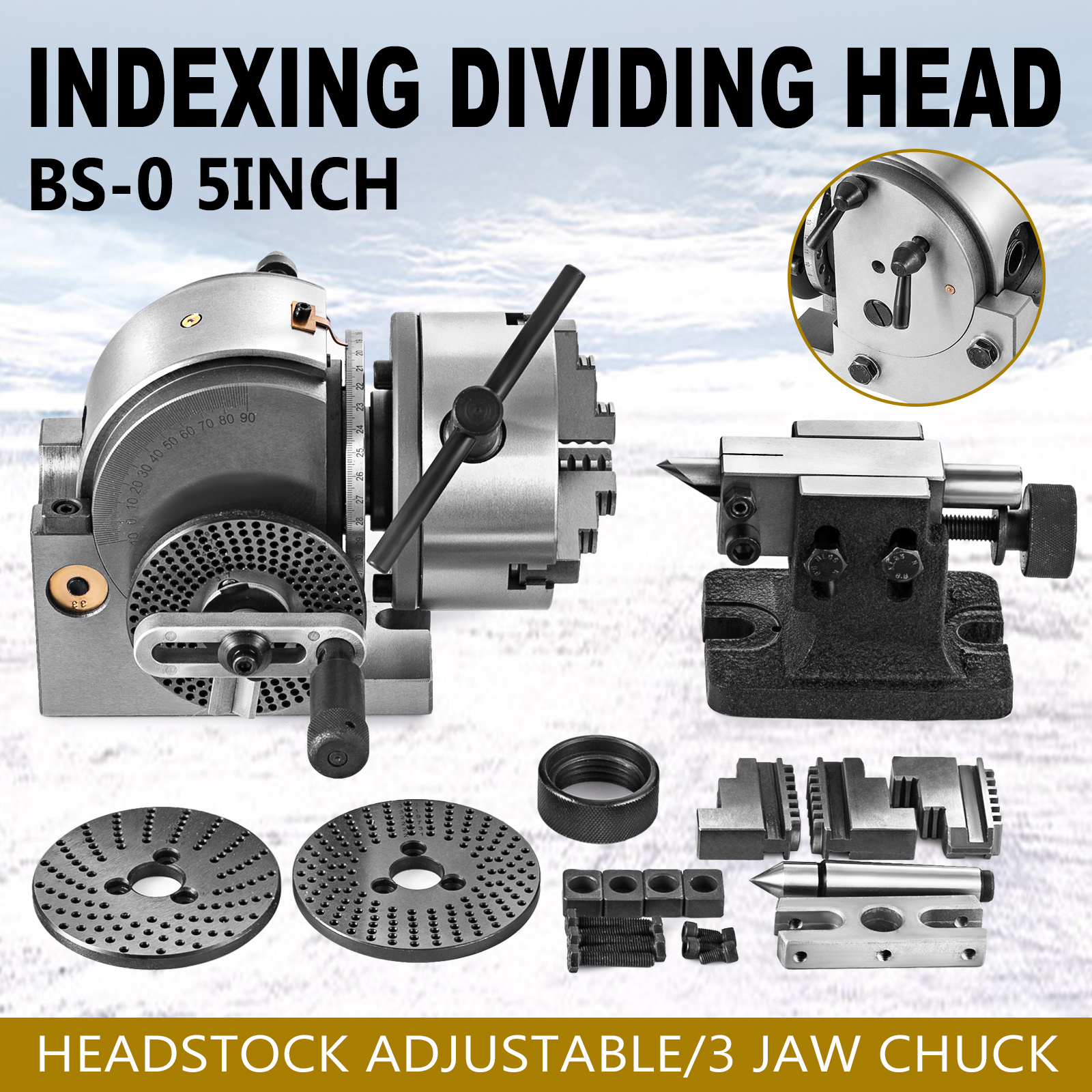 """BS-0 Precision Dividing Head With 5/"""" 3-jaw Chuck /& Tailstock For CNC Milling New"""