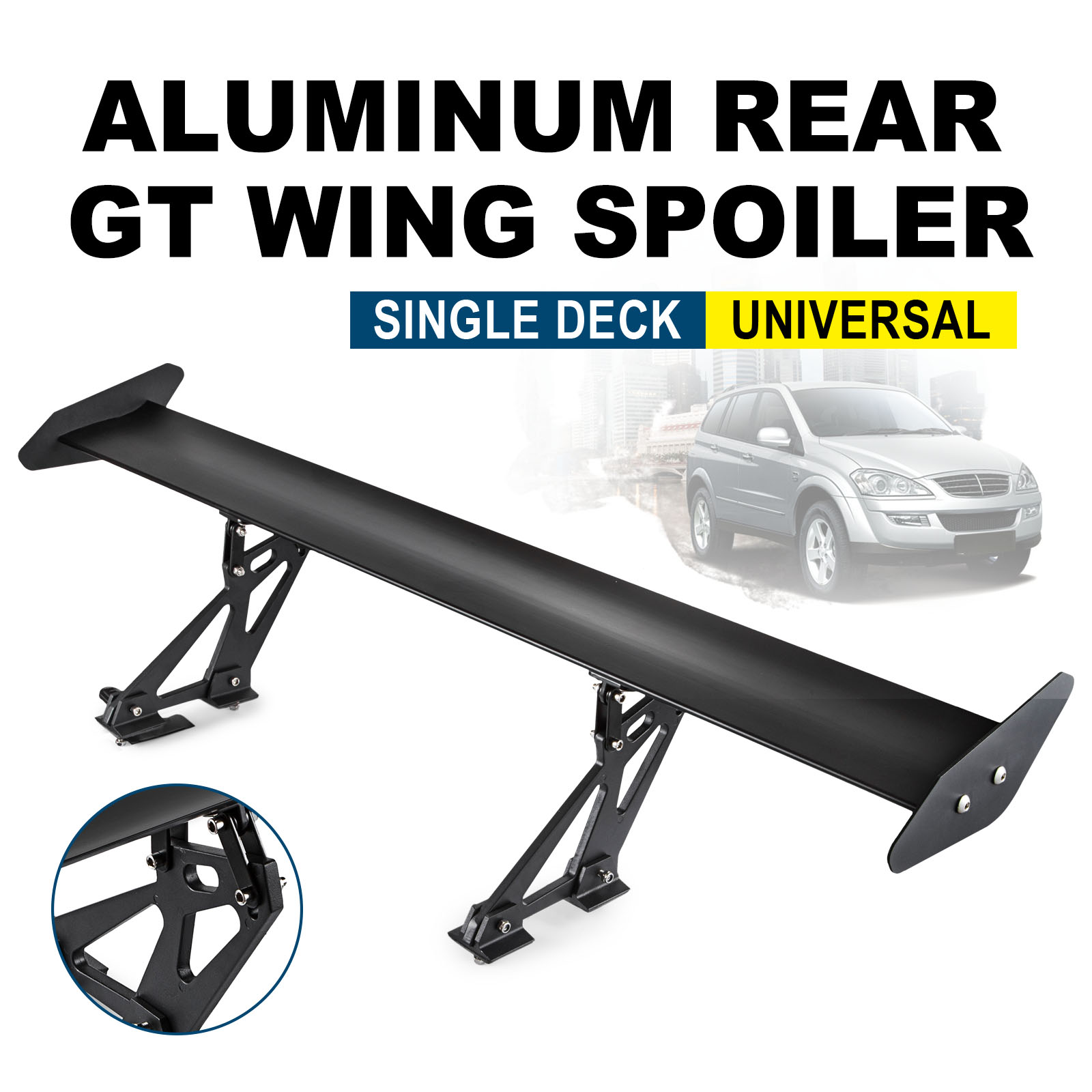 Universal Sedan Aluminum GT Rear Trunk Wing Racing 43.3 inch Spoiler Deck Black