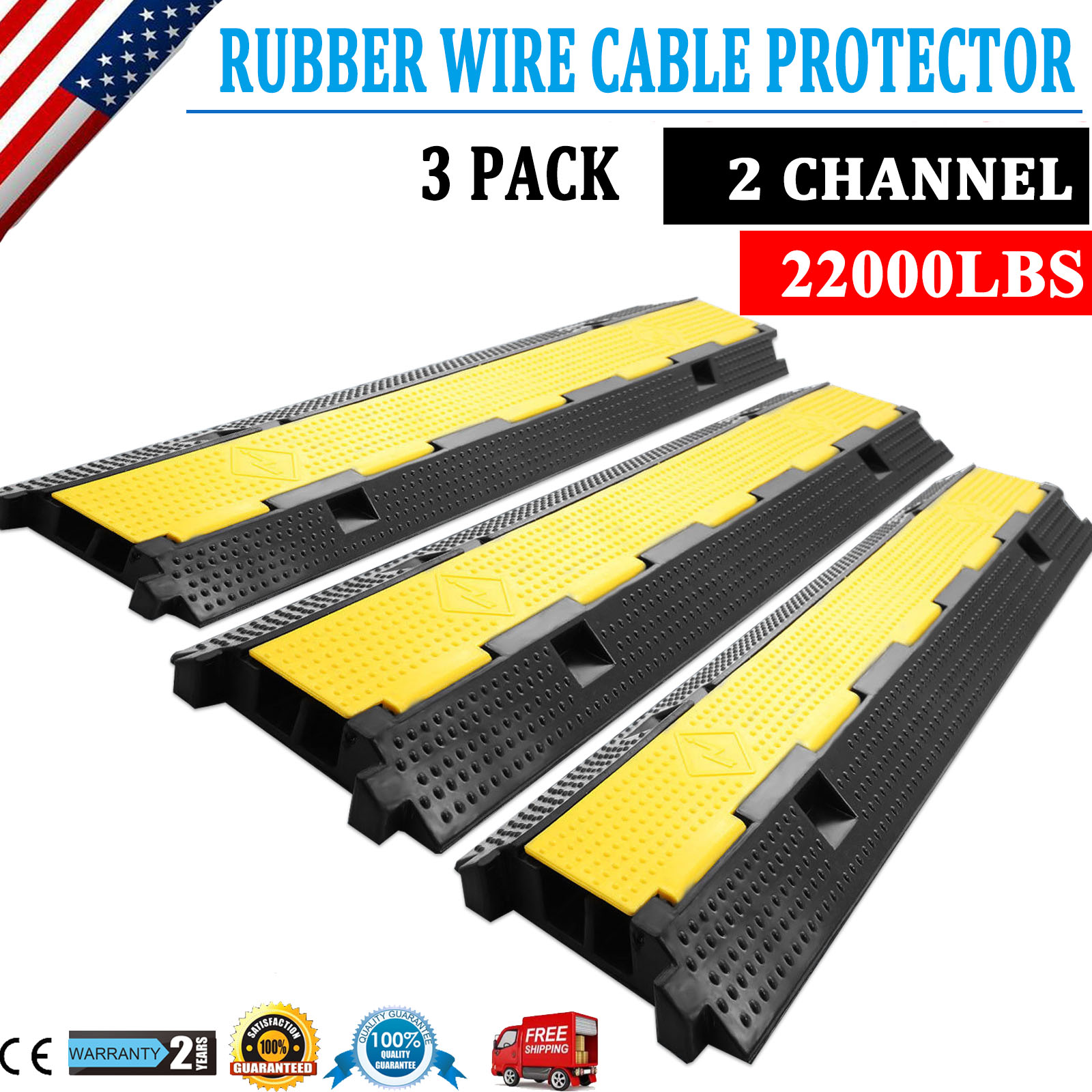 3Pcs 2 Channel Rubber Wire Cable Cover PVC Ramp Guard Warehouse Cord Protector