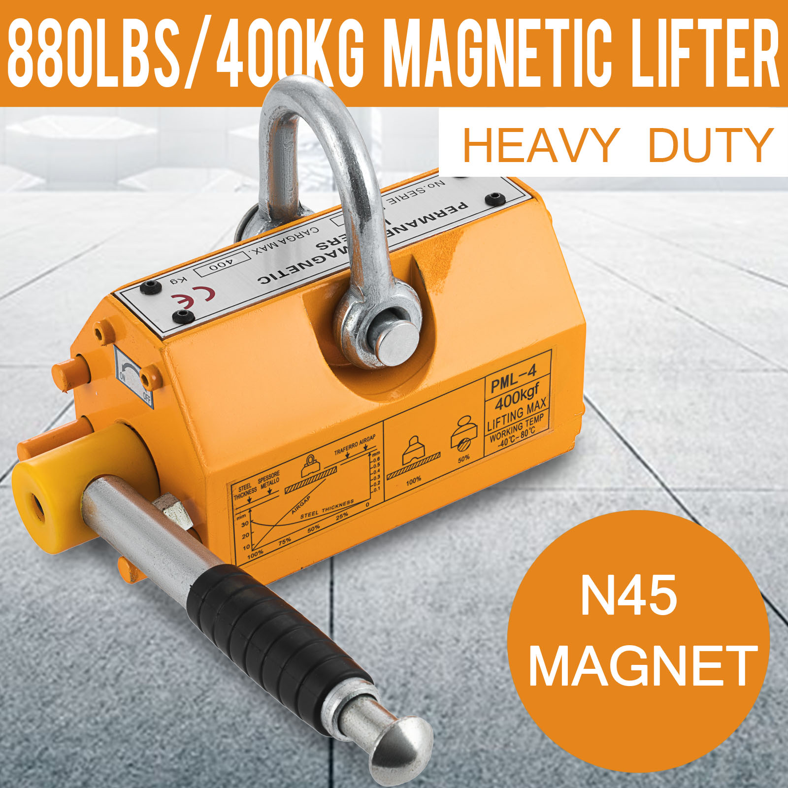 Details about 400 KG Steel Magnetic Lifter Heavy Duty Crane Hoist Lifting on