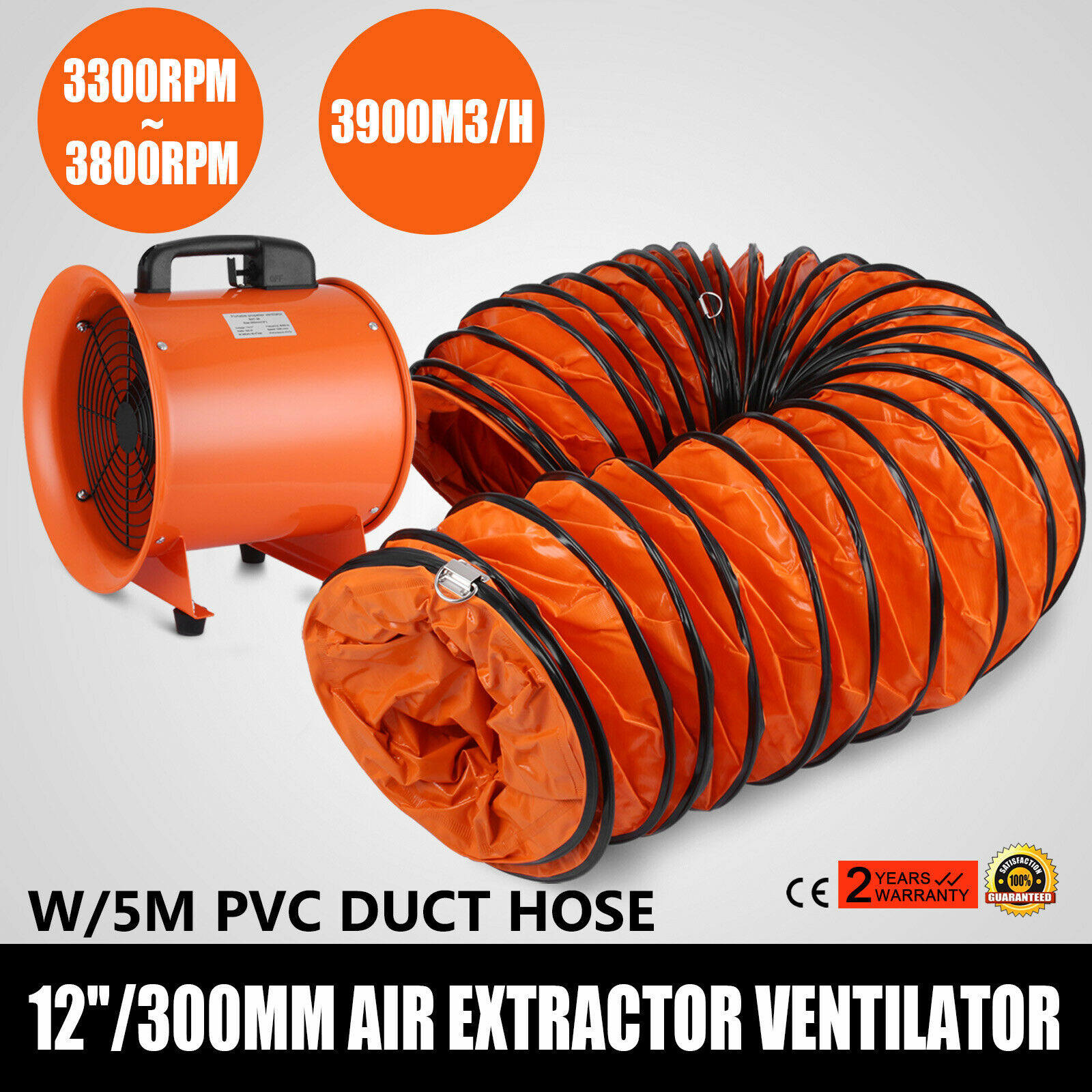 Portable Ventilation Fume Dust Extractor Ventilator Axial Blower Workshop Fan 12 INCHES