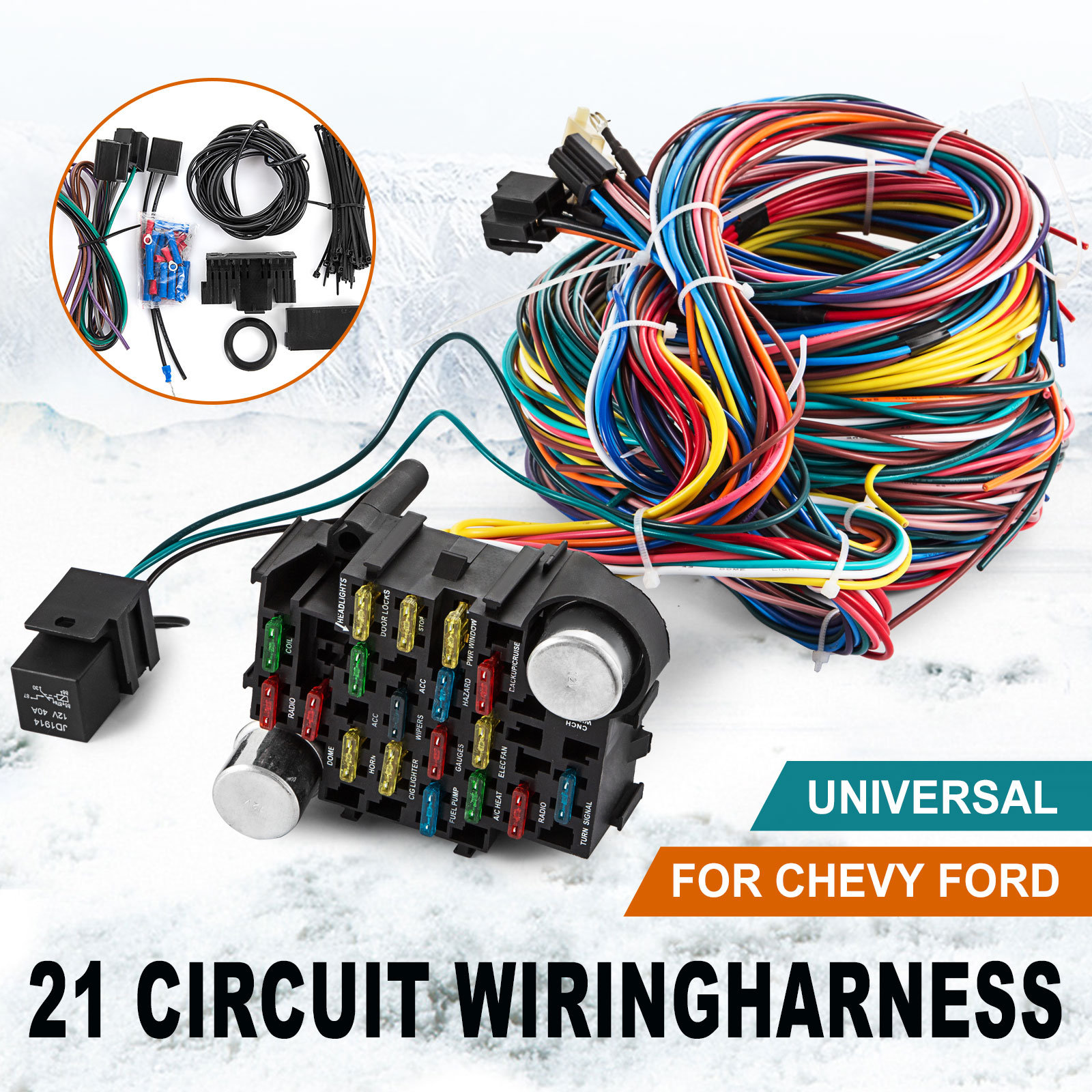 details about 21 circuit wiring harness chevy mopar ford hot rods universal  wire ez to install